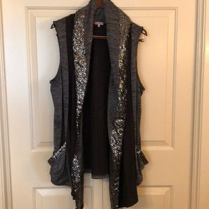 Juicy size L gray and sequin trimmed vest